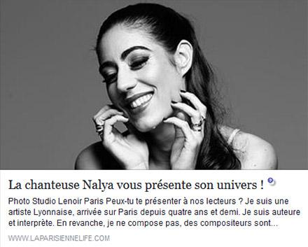Article sur Nalya sur le site la parisienne life